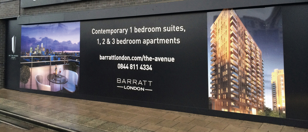Barratts Hoarding Panel London